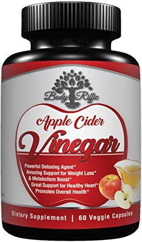 Apple Cider Vinegar Pills ACV Capsules Weight Loss Supplements Extra Strength by Body-Riffic - Powerful Detox Colon Cleanse High Blood Pressure Digestion Acid Reflux Heartburn Relief Digestive Support
