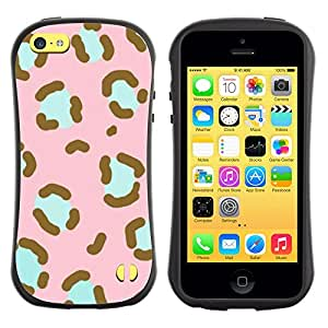 Suave TPU GEL Carcasa Funda Silicona Blando Estuche Caso de protección (para) Apple Iphone 5C / CECELL Phone case / / Pattern Pink Teal Animal Fur /