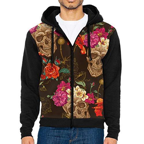 Floral Skull Full-Zip Hoodie Long Sleeve Pullovers Hooded Active Sweatshirts Hoodies