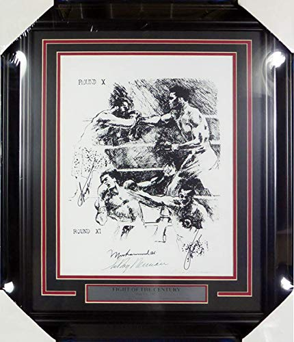 Muhammad Ali, Joe Frazier (Signed Twice) & LeRoy Neiman Autographed Framed Fight Of The Century Lithograph Photo Beckett BAS #A74181 ()