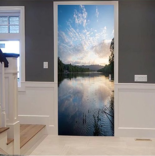 scocici1588 3d Door Wall Mural Wallpaper Stickers-the daintree river at sunset near the ferry c For Room Decor 30x79