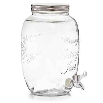 Zeller Country Style – Dispensador de bebidas 5 litros – Cristal Barril con grifo (