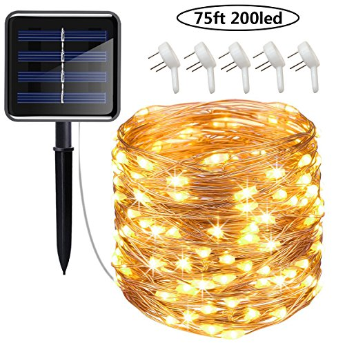 Cusomik Solar String Lights Outdoor,75ft 200 LED Copper Wire Lights,8 Modes Starry Lights, IP65 Waterproof Fairy Christmas Decorative Lights for patio,Garden,Gate,Yard,Wedding,Party 1 pack