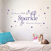 She Leaves a Little Sparkle Girls Room Vinyl Wall Decal Sticker Inspirational Quote with Stars (Lavender, 26x65 inches)
