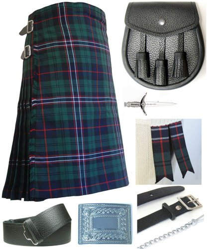 Mens Scottish National Tartan 7 Piece Casual Kilt Outfit Size: 46'' - 48'' by Kilt Society