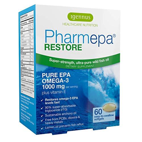 Pharmepa Restore, 1000mg Pure EPA Fish Oil, High Absorption rTG Omega-3, Triple Strength, High-Barrier Blister Packaging…