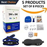 Complete Snoring Solution - 5 in 1 - Snore Mouthpiece, 4 Sets Nasal Dilators, Chin Strap, Sleeping Mask & Ear Plugs - Stop Snoring & Teeth Grinding with Anti Snoring Devices - Snore AIDS by DAN n RAK