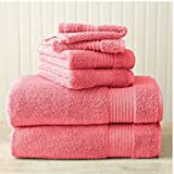 Better Homes and Gardens Extra Absorbent Bath Towel, 4 Piece Assorted Set (Bright Coral)