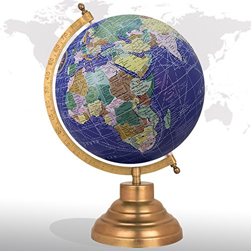 Desktop Rotating Globe Georgraphy World Map Royal Blue 8'' Inches Metal Base Educational Globe Office Table Topper by GlobeArt