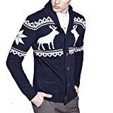 Product review for Osave Men's V Neck Deer Pattern Knitted Sweater Button Up Shawl Collar Knit Cardigan Sweater