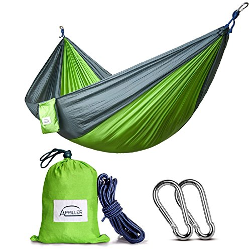 Single Double Camping Hammock/Double Parachute Camping Hammock/Lightweight Nylon Portable Hammock/Best Parachute Double Hammock for Light Travel,Camping,Hiking,Backpacking,Mats,Carpet Apriller