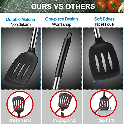 2 Pieces Silicone Turner Spatula Set Non-Stick Rubber Slotted Serving Turner Solid Spatula Spoonula with Stainless Steel Handle Cooking Utensils for Nonstick Cookware Pancake Fish (Black)