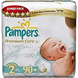 Pampers Premium Care Diapers, Size 2, Jumbo Pack - 3-6 kg, 90 Count
