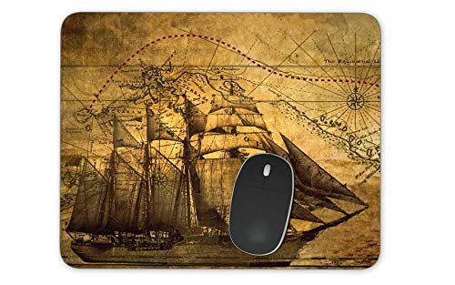 Nautical Vintage Sailing Pirate Ship Theme Rectangle Mousepad Gaming Mouse Pad Rubber Oblong Mouse Mat(9.5inchx7.9inch) ()