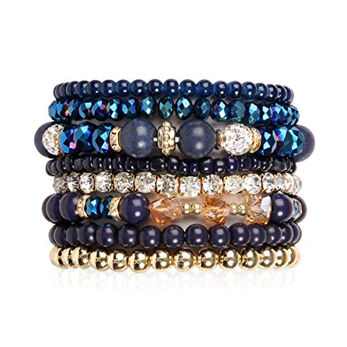 (RIAH FASHION Multilayer Beaded Stretch Stacking Bracelets - Multi Strand Colorful Sparkly Beads Statement Wrap Slip-on Cuff Bangles (Mix Bead - Navy))