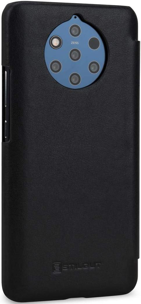 STILGUT Housse Compatible avec Nokia 9 PureView Noir Coque /à Rabat lat/éral et Fermoir /à Clip en Cuir v/éritable