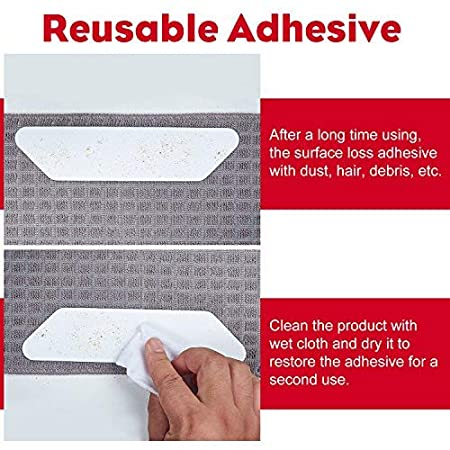 Ideal Alternate to Rug Pads Floor Surfaces Non Skid and Anti Slip Bottom iPrimio Rug Stoppers 24 Pieces Anti-Curling Long Lasting Sticky Gel Premium Straight Grippers