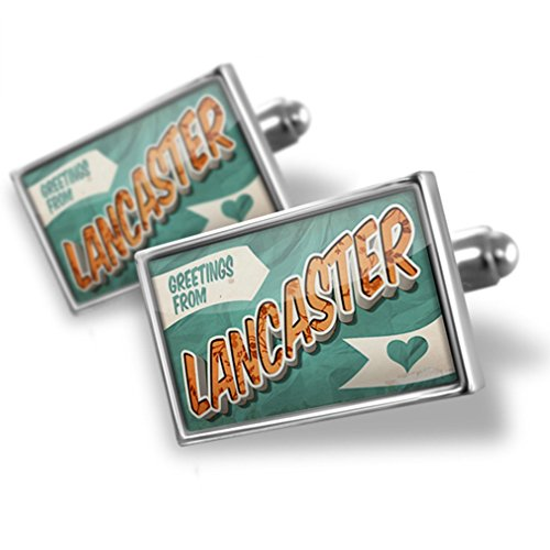 - Cufflinks Greetings from Lancaster, Vintage Postcard - Neonblond
