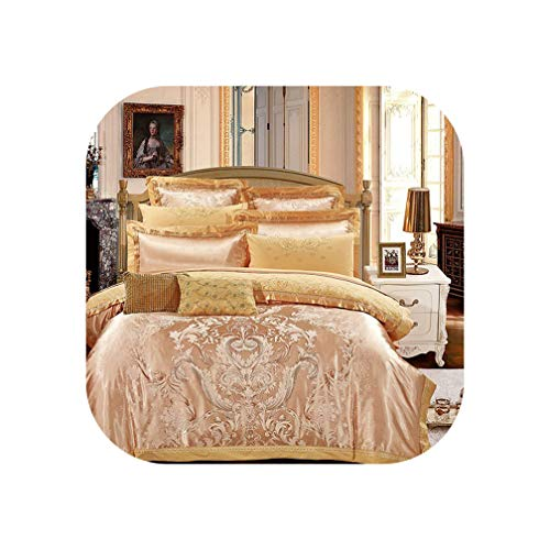meiguiyuan Silver Gold Luxury Silk Satin Jacquard Duvet Cover Bedding Set Queen King Size Embroidery Bed Set Bed Sheet/Fitted Sheet Set,Color 4,King 4Pcs,Fitted Sheet Style