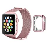 Apple Watch Band 38mm, UMTELE Milanese Stainless Steel Replacement Strap with Unique Sliding Magnetic Closure for Apple Watch Series 2, Series 1, Rose Gold
