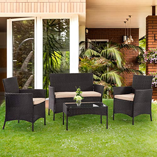 Patio Furniture Set 4 Piece Outdoor Wicker Sofas Rattan Chair Wicker Conversation Set Coffee Table Bistro Sets For Pool Backyard Lawn,Black (Outdoor Wicker Sets Furniture)