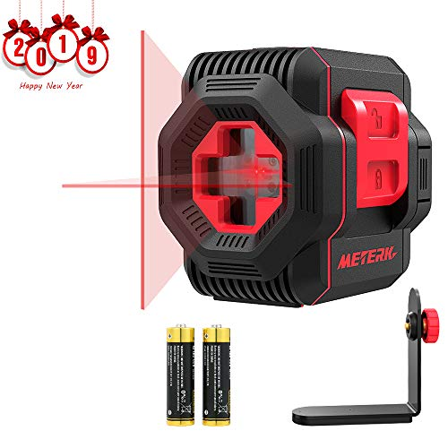 Laser Level, Meterk Cross Line Laser with Measuring Range 50ft, Switchable Self-Leveling Vertical and Horizontal Line, Rotatable 360 Degree with Flexible Magnetic Base, Battery ()