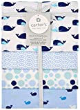 Carter's 4-Pack Cotton Flannel Receiving Blankets, Blue Whale