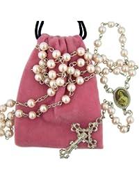 Saint St Therese Little Flower of Jesus Rosary with Pink Felt Bag Keepsake Case