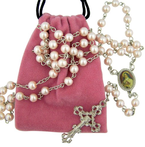 Saint St Therese Little Flower of Jesus Rosary with Pink Felt Bag Keepsake (Flower Felt Bag)