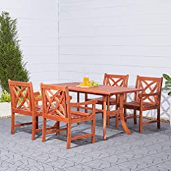 Garden and Outdoor VIFAH V189SET1 Airlie Outdoor 5-Piece Wood Patio Dining Set with Curvy Leg Table patio dining sets