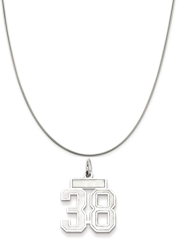 Sterling Silver Small Satin Number 38 on a Sterling Silver Cable Snake or Ball Chain Necklace