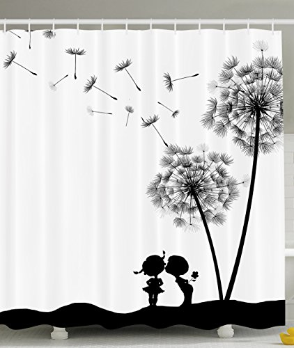 Ambesonne Retro Art Collection, Vintage Classic Thistles Dandelions Flowers Cute Lovers Artwork Prints, Polyester Fabric Bathroom Shower Curtain Set with Hooks, Black/White