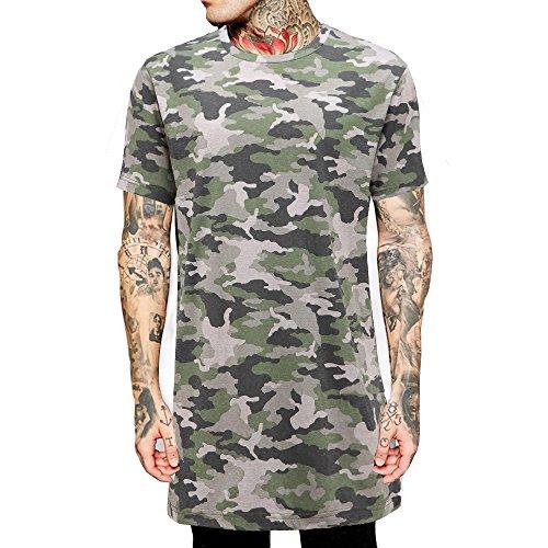 Men Longline Hip Hop Basic Solid Color Tshirt Fashion Clothing Camouflage (US-XL, BlacK-MH005)