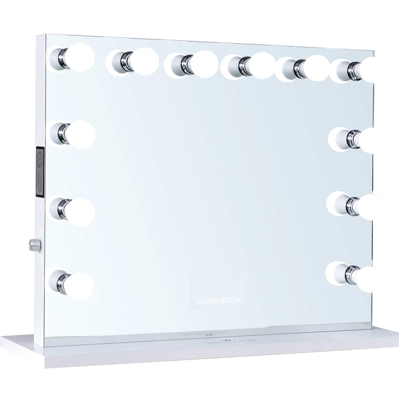 ReignCharm Hollywood Vanity Mirror Music Box, Bluetooth Speaker, 12 LED Lights, Dual Outlets USB, 32-inches x 27-inches