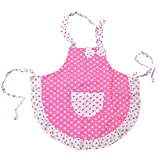 Lqchl Kids Children Cute Bowknot Polka Dot Double Layer Frills Princess Girls Apron Kitchen Cooking Baking Paiting Apron Avental