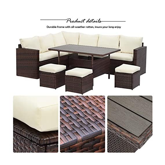 Wisteria Lane Patio Furniture Set,7 PCS Outdoor Conversation Set All Weather Wicker Sectional Sofa Couch Dining Table Chair with Ottoman,Ivory - EXQUISITE DESIGN - Combine the functionality of wood and iron with the comfort of wicker has a refined classic style,easier to match any preexisting decor OPTIMAL COMFORT - All cushions filled with thick sponge for optimal comfort and relaxation.Wide and deep seat will provide enough room to set comfortably HANDWORK MATERIAL - Made of strong galvanized steel frame and all-weather hand woven PE rattan.A handsome décor to your patio,porch,garden,yard or lawn - patio-furniture, dining-sets-patio-funiture, patio - 51sFO6PYFYL. SS570  -