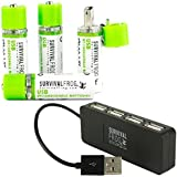 EasyPower USB AA Rechargeable Batteries 4 Pack w/4-Port USB Hub