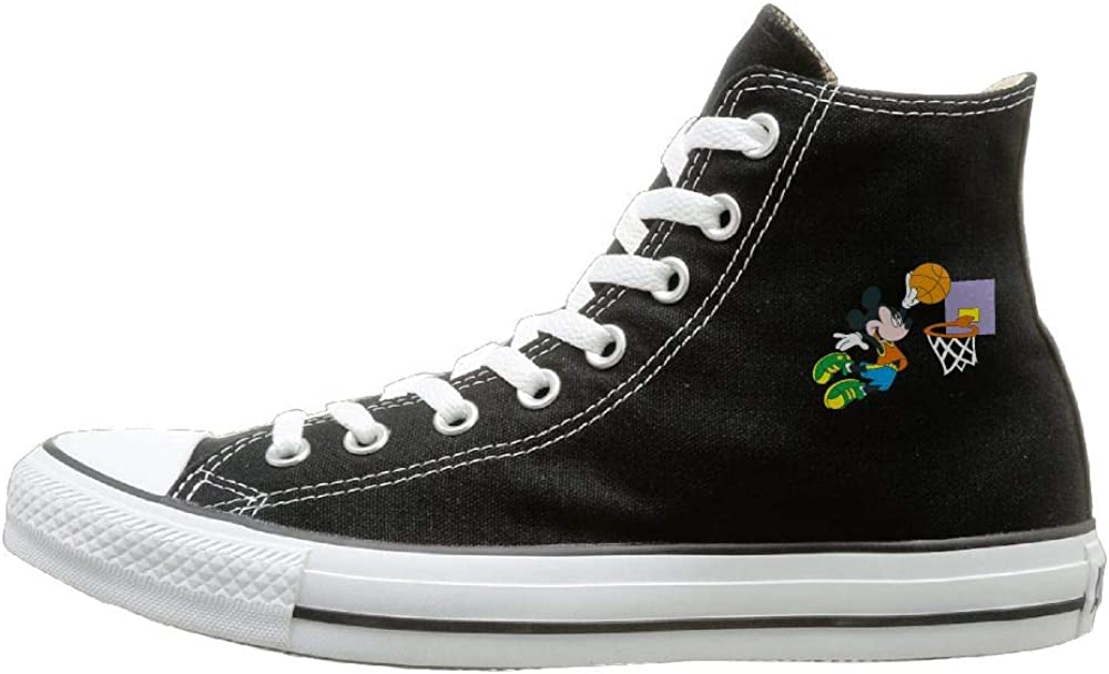 Shenigon Mickey Dunk Canvas Shoes High Top Sport Black Sneakers Unisex Style