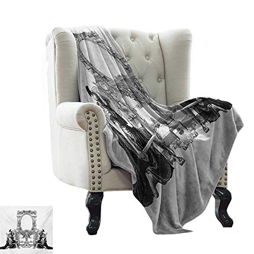 - LsWOW Yoga Blanket Victorian,Victorian Frame with a Gladiator Warrior Roman Headpiece Ancient Design,Black and White Lightweight Microfiber,All Season for Couch or Bed 50