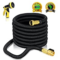 75ft EXPANDABLE GARDEN HOSE - Expanding Water Hose with Heavy Duty Triple Layered Latex Core and Free 10 Spray Nozzle Light Weight Flexible Expanda