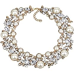Kacon Vintage Gold Tone Chain Multi-Color Glass Crystal Collar Choker Statement Bib Necklace (White)