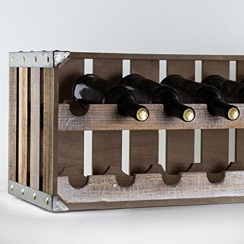 American Art Décor Wood and Metal Two Tier Wine Rack and Storage Shelf - Rustic Farmhouse Decor by American Art Décor (Image #5)