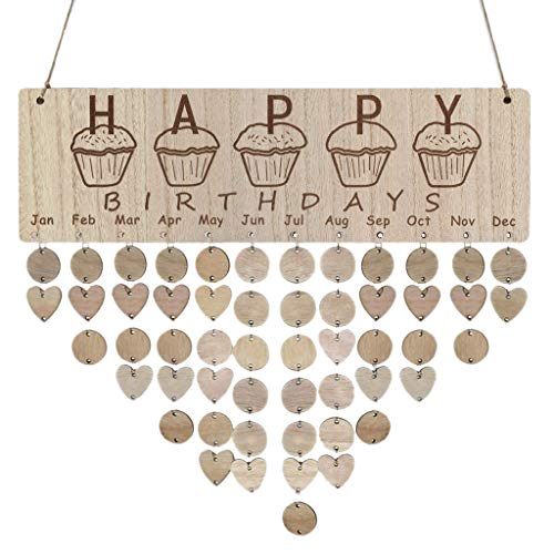 certainPL DIY Wooden Family Birthday Reminder Calendar, Wall Hanging Decoration (A)