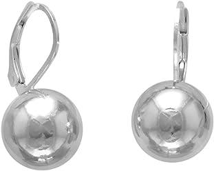 Sterling Silver Leverback Earrings, 12mm Bead/Ball, Italian