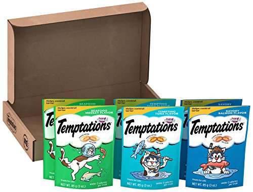 Temptations Classic Cat Treats, Seafood Lovers Variety Pack, (6) 3 Oz. Pouches, Makes A Great Holiday Cat Present