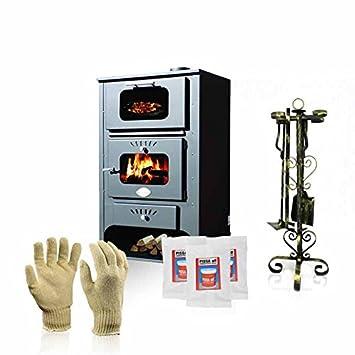 Estufa de leña con horno de Zvezda, Modelo GF, salida de calor de 16 kW: Amazon.es: Bricolaje y herramientas
