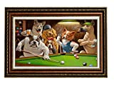 Eliteart-Dogs Playing Pool Billiard Artisan by Cassius Marcellus Coolidge Oil Painting Reproduction Giclee Wall Art Canvas Prints-Framed Size:26''x36''