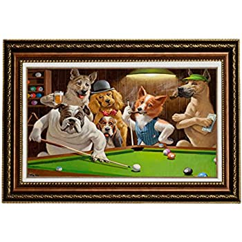 Eliteart Dogs Playing Pool Billiard Artisan By Cassius Marcellus Coolidge  Oil Painting Reproduction Giclee Wall