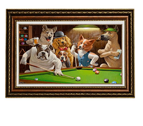 Framed Dogs Playing Pool Art (Eliteart-Dogs Playing Pool Billiard Artisan by Cassius Marcellus Coolidge Oil Painting Reproduction Giclee Wall Art Canvas Prints-Framed Size:26