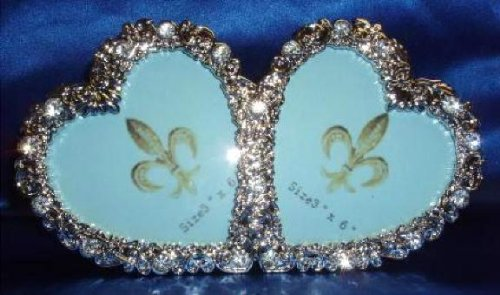 Jeweled Flower Picture Frame (2 Hearts Jeweled Flowers Twin Double Rhinestone Picture Frame 3 x 6 Inches)